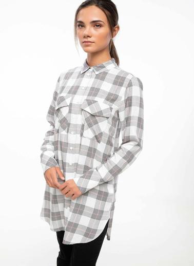 DeFacto Cep Detaylı Kareli Gömlek Tunik Ekru